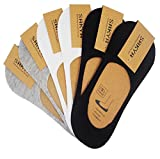 Sakya Men's Cotton No Show Liner Invisible Socks Bamboo Flat Boat Line 6-Pack