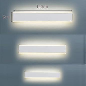 WVIVW LED Lámpara de Pared Largo Interior Madera Acrílico Lámpara de Espejo Bar Luminoso Apliques de Pared Plafones Luz del Gabinete para Gabinete Pasillo, Escalera, Cocina Luz Calida Blanco,100cm: Amazon.es: Iluminación