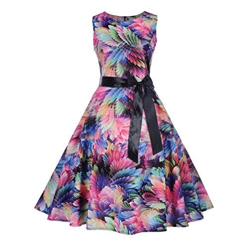 fa443f4ec72 Floral Vintage Schleife Tunika Kleid Swing Für Midi Ball Frau Elegantes  Kleider Mehrfarbig Plissee Plus Party ...