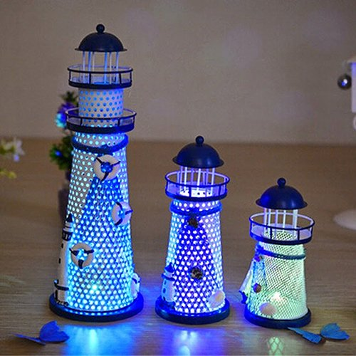 lightclub House Home Ornament Furnishing Maritime Crafts Beacon Decoration Lighthouse for Baby Boys or Girls Room Multicolor 145 mm