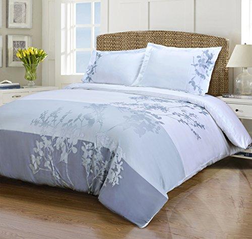 (Superior 100% Cotton Duvet Cover Set - Soft, Embroidered Hotel Collection Duvet Cover, 3-Piece Duvet Set, Sydney, Full/Queen Size )