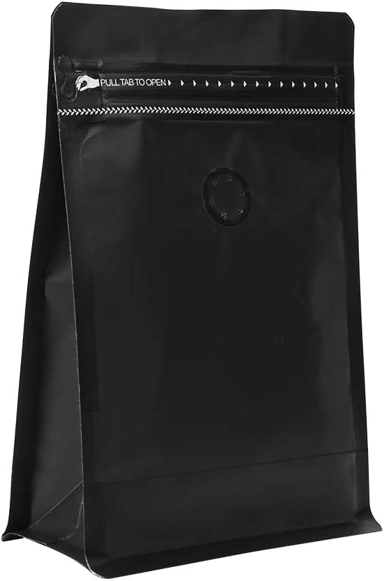 50 count 1lb/16oz Stand Up Coffee Bag/Flat Bottom Pouch with Air Release Valve and Reusable Side Zipper/Smell Proof Bags (Black)
