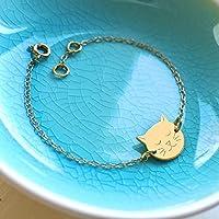 Pulsera de oro personalizada pequeña cara de gato