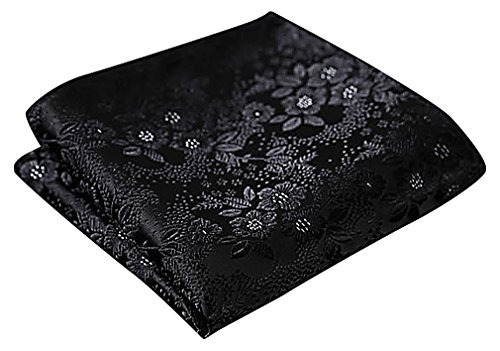 Richly Embroidered Silk (Celino Men Silk Richly Colored Floral Geo Paisley Patterns Fancy Classy Hankies, FG08Black One Size)