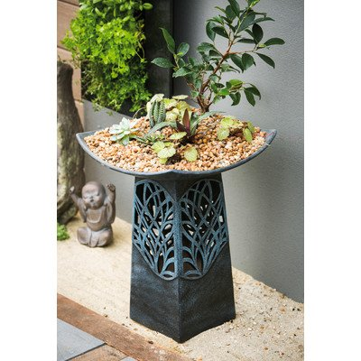 Intricate LED Hand Glazed Ceramic Birdbath by Evergreen Enterprises, Inc