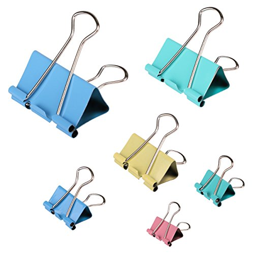 AshopZ 100 Piece Multi-Colored Assorted Metal Binder Clips for Document Organization