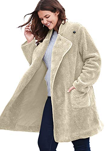 Woman Within Women's Plus Size Rib Knit Collar Berber Jacket - Oatmeal, L