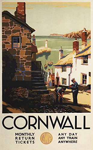(Cornwall, England - Street Scene with Two Men Working Railway - Vintage Travel Poster (12x18 Art Print, Wall Decor Travel Poster))