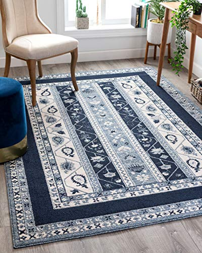 Well Woven Pila Dark Blue Floral Oriental Pattern Area Rug 8x11 (7'10