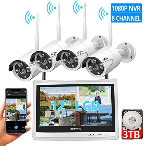 8CH Expandable All in one with 12 LCD Monitor Wireless Security Camera System, Home Business 8CH 1080P NVR Kit 4pcs 2MP Outdoor Bullet IP Cameras 65ft Night Vision Waterproof,3TB Hard Drive
