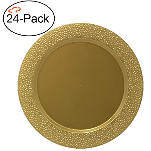 Tiger Chef 24-Pack 13 inch Round Gold Hammered Plastic Charger Plates Disposable Set of 2, 4, 6, 12 or 24 for Parties, Wedding, and Special Events ()