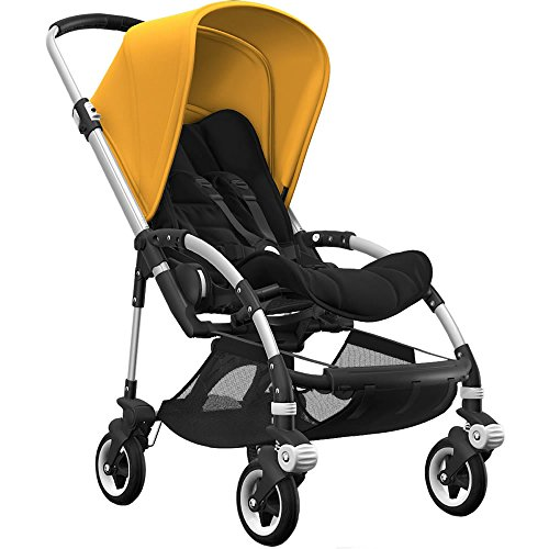 (Bugaboo Bee5 Complete Stroller with Aluminum Frame with Black Seat Fabric and Sunrise Yellow Sun Can)