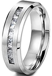 Jstyle Jewelry 8MM Titanium Rings for Men Wedding Engagement Rings Promise Size 8-14