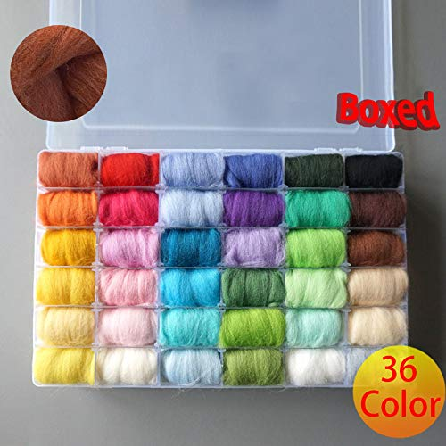 Diy Package - 36 Colors Box Wool Felt Fibre Needle Felting Hand Spinning Needlework Raw - Package Package Felt Doll Yarn Ktyz Wool Roving Fall Winter Merino Master Craft Daruma Basket Netbook Case