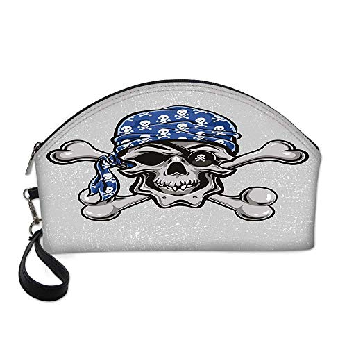 Skull Small Portable Cosmetic Bag,Scallywag Pirate Dead Head Grunge Horror Icon Evil Sailor Crossed Bones Kerchief For Women,One size