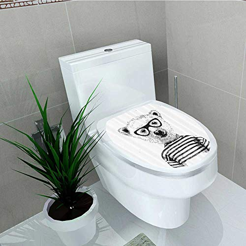 Printsonne Toilet Seat Wall Stickers Paper Dressed up Hipster Nerd Smart Male in Glasses Fun Character Animal Artful Decals DIY Decoration W13 x L13 ()