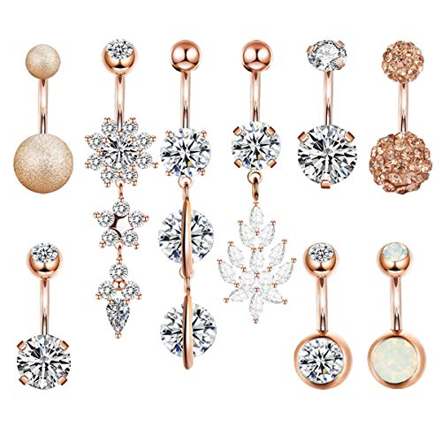 (HAO HONG Belly Button Rings Clear CZ Navel Rings Belly Rings Belly Piercing Body Piercing (9pcs(Rose Gold)))
