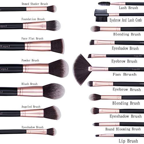 Makeup Brushes 18 Pcs Makeup Brush Set Premium Synthetic Foundation Brush Blending Face Powder Blush Concealers Eye Shadows Make Up Brushes Kit (Rose Golden)
