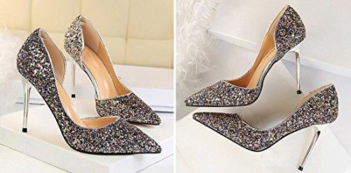 QIYUN.Z Women Pointed Toe Stiletto Patent Dress Pumps Sequins High Heel Side Of The Hollow 9.5 CM Wedding Pumps Shoes Color 9RZS9xk1