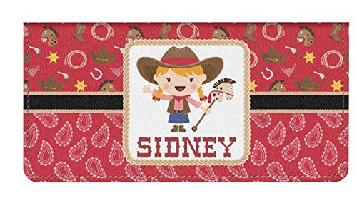 Red Western Genuine Leather Checkbook Cover (Personalized)