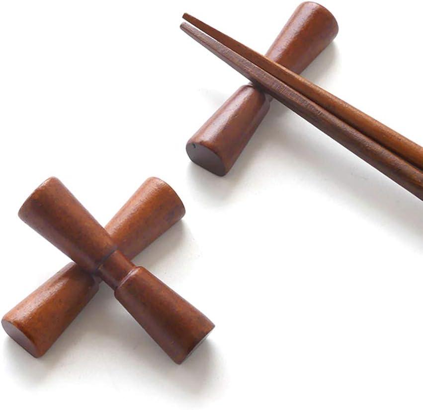 BESTONZON 2pcs Creative Bow Tie Shape Wooden Chopsticks Rests Non-Slip Chopsticks Holder Writing Brush Rack