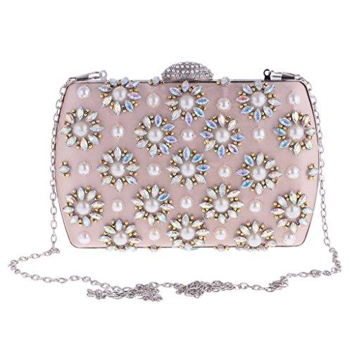 Sharplace Borsa Pochette Sacchetto Elegante Da Giorno Donna Diamante Critallo Perla Stile Retro Per Cerimonia Nuziale Festa Anniversario