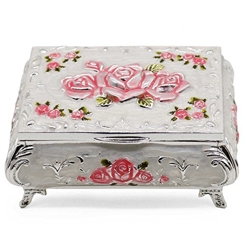 (AVESON Luxury Vintage Rectangular Metal Alloy Jewelry Box Organizer Storage Box Ring Trinket Case for Women Girls, Christmas Birthday Gift, Small, Silver & Pink)