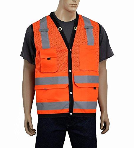 Safety Depot Breathable Surveryor Vest ANSI Class 2 Approved Large Deep Pockets, Mic Tabs & High Visibility Reflective Tape SURV (Orange, ()