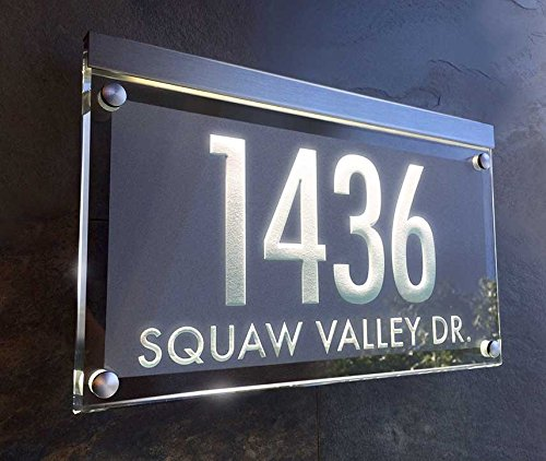 Crystal Illuminated Address Plaque! The personalized address numbers shine brilliantly! Clarus Crystal LA-1
