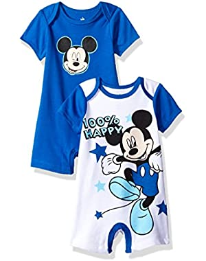 Baby Boys' Mickey Mouse 2 Pack Rompers