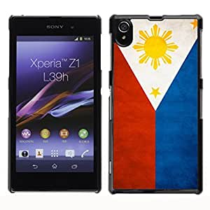 Shell-Star ( National Flag Series-Philippines ) Snap On Hard Protective Case For SONY Xperia Z1 / L39H / C6902 / C6903 / C6906