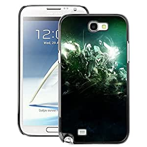 A-type Arte & diseño plástico duro Fundas Cover Cubre Hard Case Cover para Samsung Note 2 N7100 (Desert Lights Night Green)