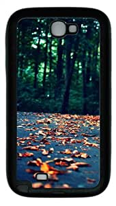 Leaves On The Road TPU Rubber Soft Case Cover For Samsung Galaxy Note 2 / Note II/ N7100 - Black