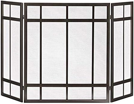 LJFPB 暖炉スクリーン 3パネル スチールスパークガード 暖炉用 折りたたみデザイン 屋外の金属装飾メッシュカバー ブラック、 51.6×31.5インチ (Color : Black)