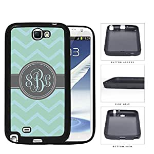 Teal And Light Blue Chevron With Gray Monogram (Custom Initials) Rubber Silicone TPU Cell Phone Case Samsung Galaxy Note 2 II N7100 by icecream design