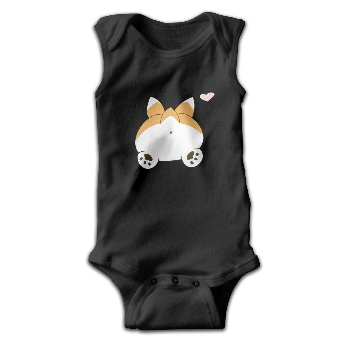 Corgi Butt Plain Smalls Baby Onesie,Infant Bodysuit Black