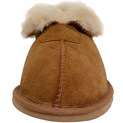 Bushga Damen Echtes Schaffell Slipper Stiefel mit Rolle Up/Down Manschette von (Kastanie, Pflaume oder Mink Grau) Kastanienbraun