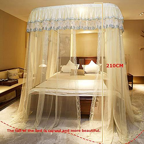 Three Open Doors Mosquito Net Bed Canopy Floor-Standing Rail Type Folding Retractable Net Tent Indoor Decorative,Purple,150200CM by LINLIN MOSQUITO NET (Image #1)
