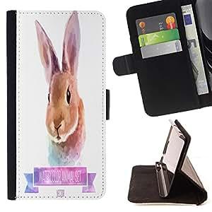 King Case - FOR Apple Iphone 4 / 4S - Cute little rabbit - Prima caja de la PU billetera de cuero con ranuras para tarjetas, efectivo Compartimiento desmontable y correa para la mu?eca