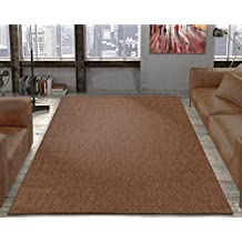 Ottomanson Jardin Collection Natural Solid Design Indoor/Outdoor Jute Backing Area Synthetic Sisal Rug, Dark Brown, 5'3 x 7'3