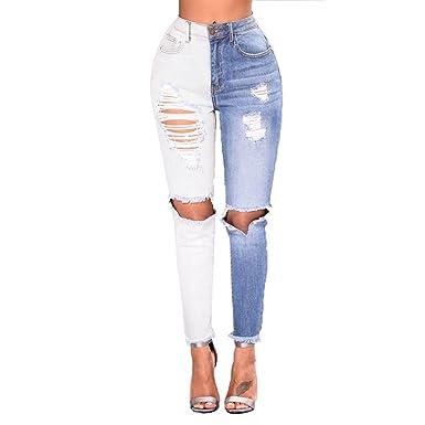 OULII Femmes Pantalon Trou Cassé Jean Denim Lavable (Blanc et Bleu ... 54d15aadb764