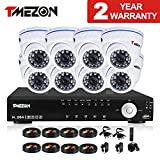 TMEZON 16CH HDMI Security DVR 8pcs HD 800TVL with IR Cut Dome Surveillance Cameras System Night Vision Weatherproof P2P Smartphone Quick View