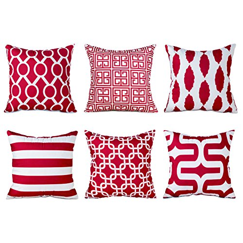 crofiber Square Decorative Throw Pillows Cushion Covers Pillowcases For Sofa Set of 6 Size 18 Inch x 18 Inch-Burgundy (Red Microfiber Sofa)