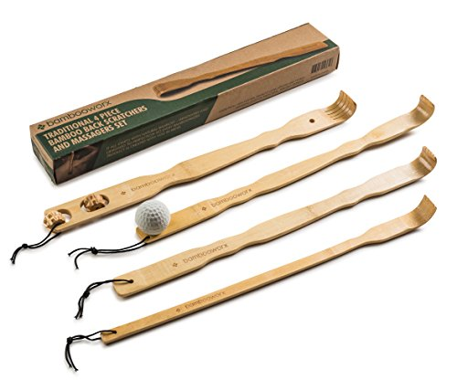 BambooWorx 4 Piece Traditional Back Scratcher and Body Relaxation Massager Set for Itching Relief,...
