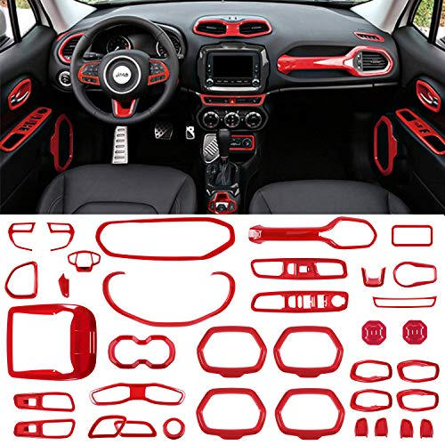 Danti 36Pcs Car Interior Accessories Decoration Cover Air Conditioning Vent & Door Speaker & Water Cup Holder & Headlight Switch & Window Lift Button Covers for Jeep Renegade 2015-2018 (Red)