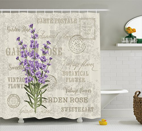 Vintage Postcard Flowers - Lavender Shower Curtain by Ambesonne, Vintage Postcard Composition with Grunge Display and Flowers, Fabric Bathroom Decor Set with Hooks, 75 Inches Long, Lavender Reseda Green Beige