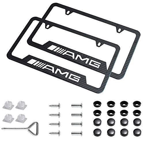 Sparkle-um 2pcs AMG License Plate Frame Carbon Fiber Logo for Mercedes-Benz.