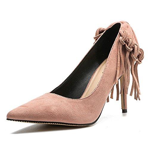 Altos Mujer de Sexy y limpio versátil Pink de Tacones de Cerrado Heel alta Altos elegante Tacones mujer Ruanlei Shoes Charol y Tacones fashion Clásicas ElegantesPequeño wqtz6dWH