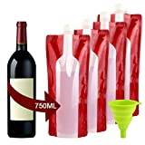soap making funnel - Accmor Wine Bottle Bag Flask, Portable Wine Accessories, Reusable Flexible Collapsible Wine Bottles, Leek Proof Liquid Accessories for Travel Camping BBQ Party Beach Hiking Home Kitchen
