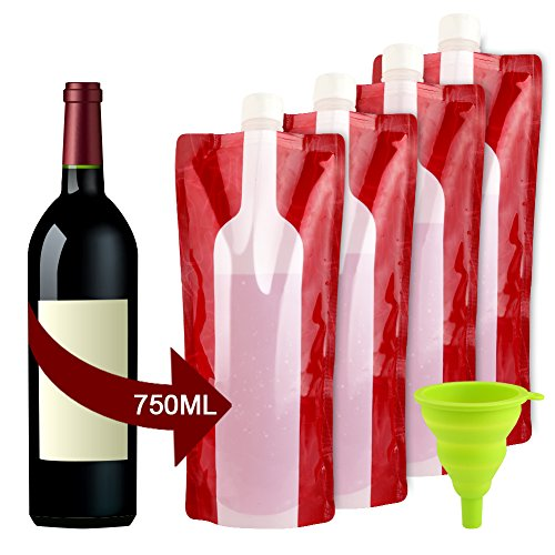 Accmor Wine Bottle Bag Flask, Portable Wine Accessories, Reusable Flexible Collapsible Wine Bottles, Leek Proof Liquid Accessories for Travel Camping BBQ Party Beach Hiking Home (Velvet Pool Cue Case)
